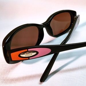 Fossil Orange & Pink Color Block Brown Sunglasses
